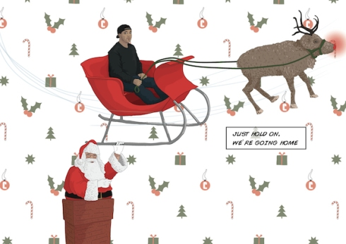 Because what says Merry Christmas more than Drake taking off in Santa's sled?